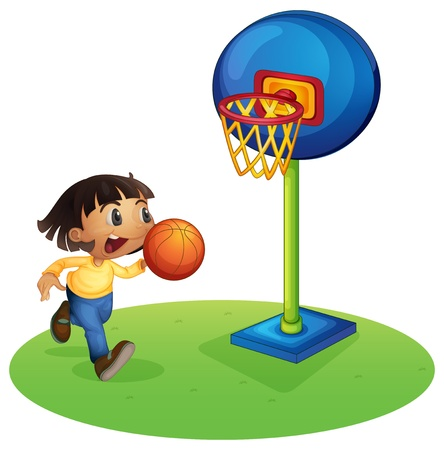 bouncing: Illustration of a small boy playing basketball on a white background