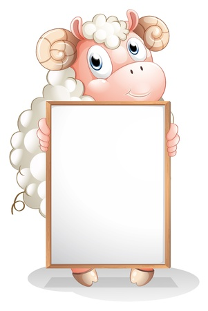 Illustration of a sheep holding an empty bulletin board on a white background