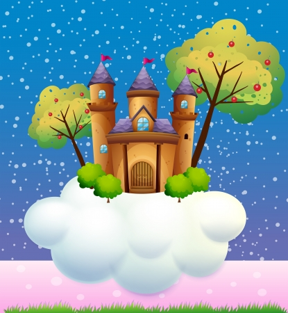 manmade: Illustration of a castle on a cloud