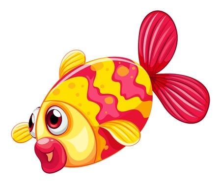 pouty: Illustration of a pouty fish on a white background Illustration