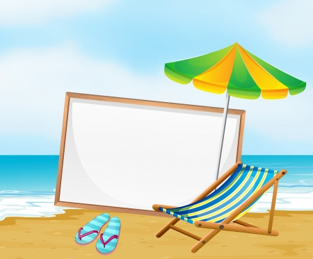 Illustration of a beach with an empty whiteboard Vector