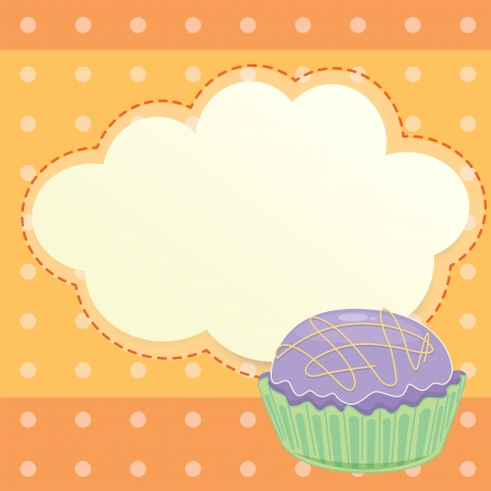 Illustration of a stationery with a cupcake Vector