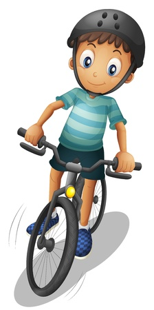 one wheel bike: Illustration of a boy biking wearing a helmet on a white background