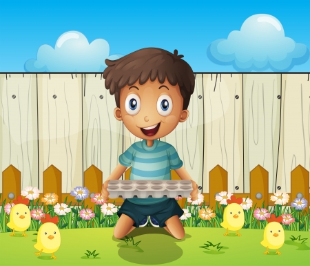 eggtray: Illustration of a boy with an empty egg tray and the little chicks