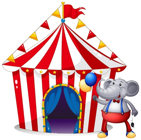 Illustration of an elephant in front of the tent at the carnival on a white background  Stock Vector - 21094977