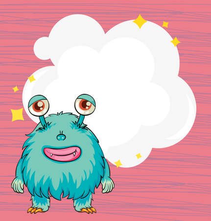 pinkish: Illustration of a stationery with a blue hairy monster
