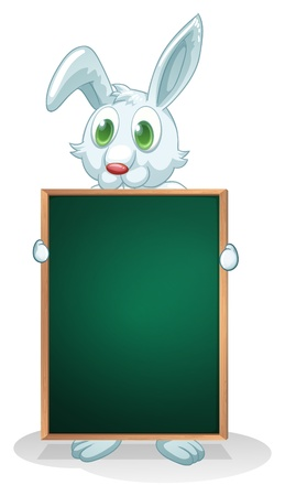 Illustration of a bunny holding an empty board on a white background Stock Vector - 21094982