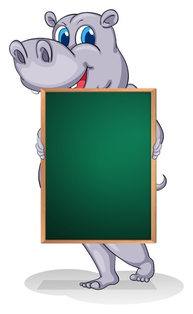 Illustration of a hippopotamus holding an empty board on a white background