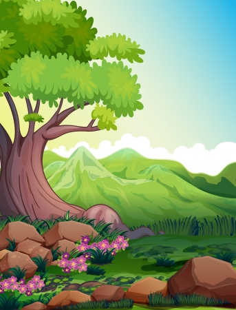 Illustration of a big tree at the forest