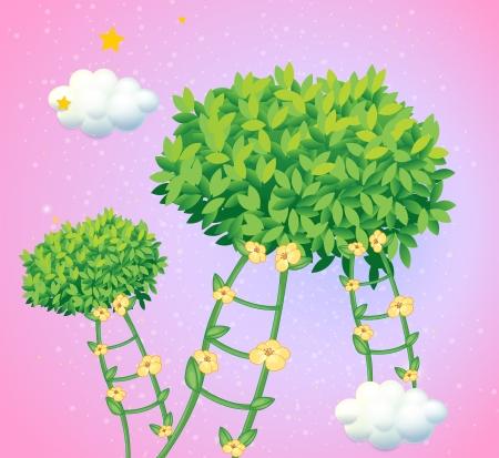 bush mesh: Illustration of the ladders made of vine plants