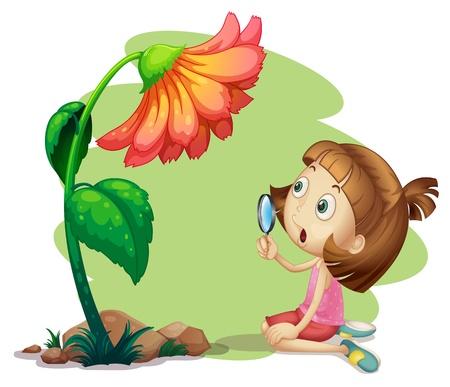 Ilustración de una niña sosteniendo una lupa bajo una flor sobre un fondo blanco