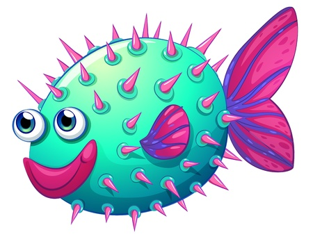 Illustration of a colorful bubble fish on a white background Stock Vector - 21094994