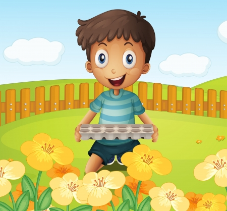 eggtray: Illustration of a boy in the garden holding an empty egg tray
