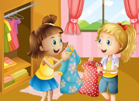 folded clothes: Illustration of the two girls holding their new dresses Illustration