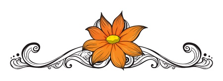 simple border: Illustration of a simple flower border on a white background