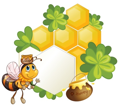 bumblebee: Illustration of a bee beside an empty template with green plants on a white background