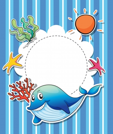 Illustration of a stationery with a big smiling blue shark