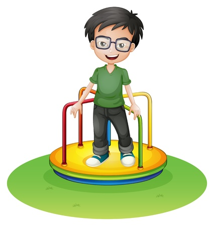 boy with glasses: Illustration of a happy boy above a colorful round ride at the carnival on a white background