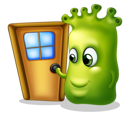 Illustration of a monster knocking at the door on a white background  Vector