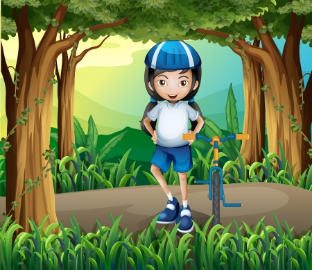 drawing safety: Illustration of a girl standing beside her bike in the middle of the jungle Illustration