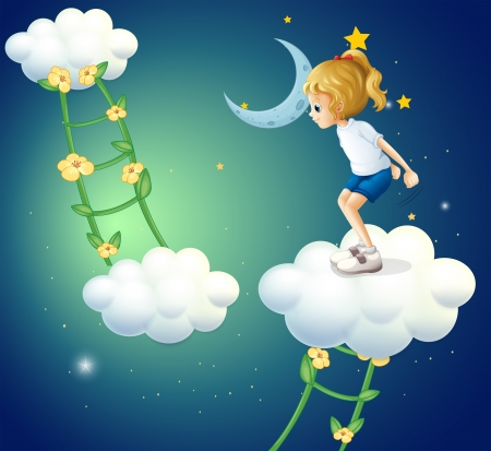 Illustration d'une jeune fille au-dessus des nuages ??avec une plante d'échelle