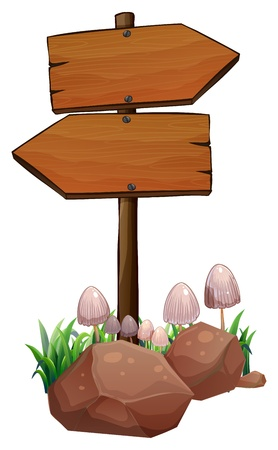 plant stand: Illustration of the wooden signage on a white background Illustration