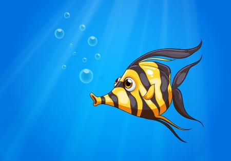 Illustration of a striped colored fish under the sea