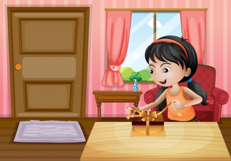 Illustration of a girl opening her gift inside the house Stock Vector - 21095031