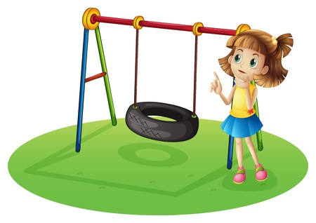 bar area: Illustration of a girl thinking beside a swing on a white background