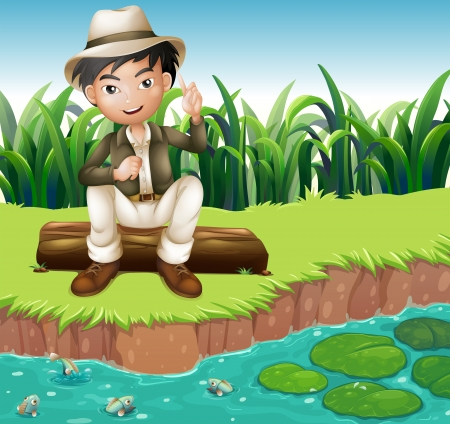 Illustration of a boy sitting on a wood at the riverbank