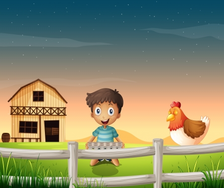 Illustration of a boy holding an egg tray near the sleeping chicken Vector