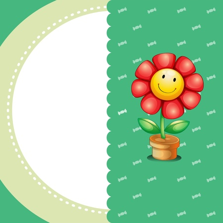 Illustration of a stationery with a smiling flower Stock Vector - 21095053