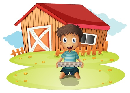 Illustration of a boy holding an egg tray on a white background Stock Vector - 21095056