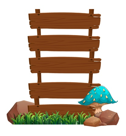 Illustration of a blue mushroom beside the empty wooden boards on a white background  Illustration