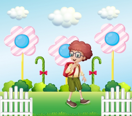 sugarcane: Illustration of a student in the garden with candies Illustration