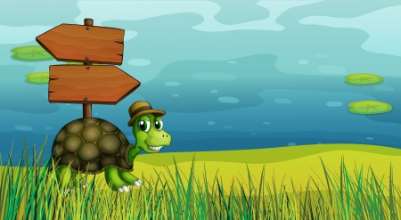 Illustration of a turtle near the wooden arrow boards Vector