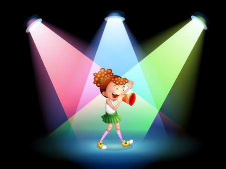 Illustration of a cheerleader in the stage Vector