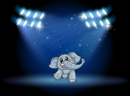 stageplay: Illustration of an elephant dancing at the stage under the spotlights Illustration