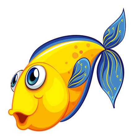 gills: Illustration of a yellow fish on a white background