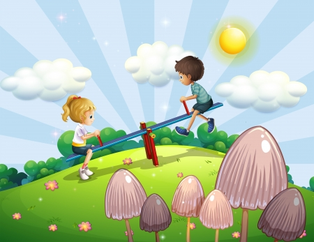 Illustration of a boy and a girl riding a seesaw Illustration