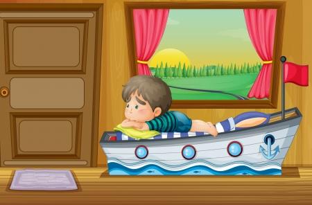child sad: Illustration of a sad little boy inside the house