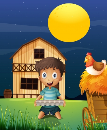 barnhouse: Illustration of a boy collecting eggs in the evening Illustration