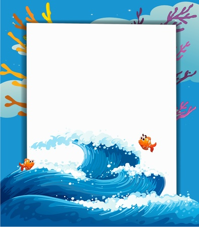 nemo: Illustration of an empty template at the sea with fishes Illustration