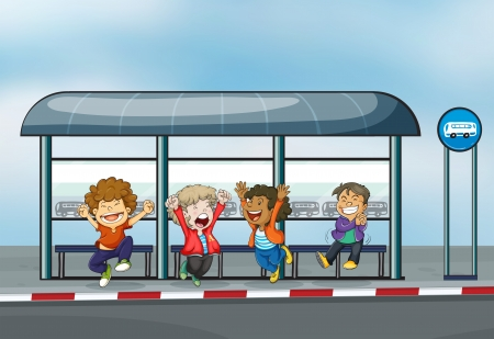 Illustration of the four happy kids at the waiting shed Vector