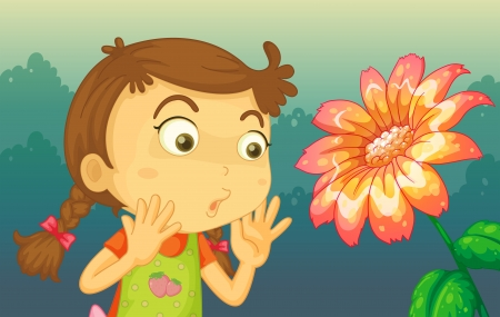 astonished: Illustration of a girl shocked by a giant flower Illustration