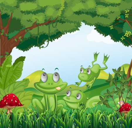 Illustration of the three frogs at the forest  Vector