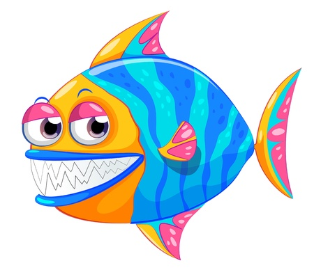 Illustration of a colorful piranha on a white background Stock Vector - 21095100