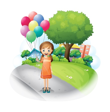 establishments: Illustration of a girl at the road with eight balloons on a white background