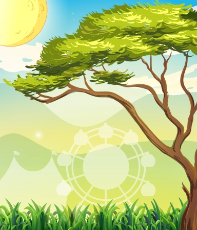elongated: Illustration of a tree and a sun