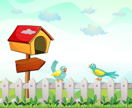 pointed arrows: Illustration of a bird house with an arrow board and birds above the fence